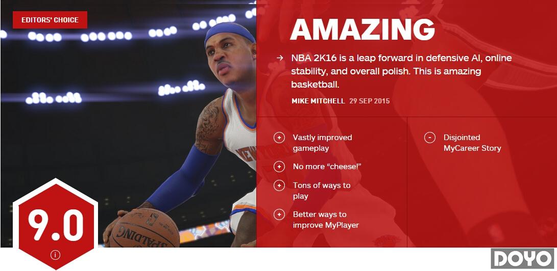 《NBA 2K16》IGN 9.0分 一款全面进步的篮球神作_第十届亚洲电影大奖