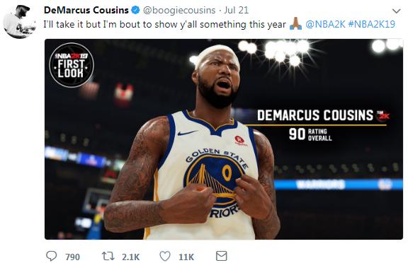 《NBA 2K19》考辛斯自曝能力值 称今年证明自己