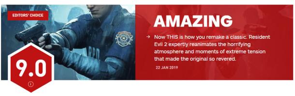 《生化危机2:重制版》IGN 8.8分 经典游戏重制新标杆
