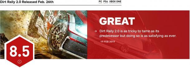 《尘埃拉力赛2.0》媒体评分解禁 获IGN 8.5分好评