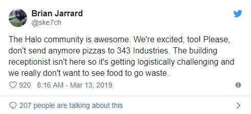 不要了!《光环》工作室表示粉丝送的披萨多到吃不下