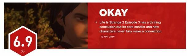 《奇异人生2第三章》IGN 6.9分 新人物与故事冲突无联系