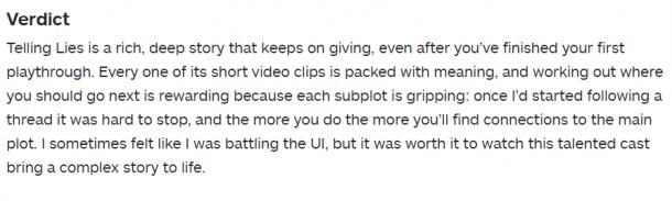 表演精彩绝伦 《她的故事》开发商新作《谎言》IGN 9分