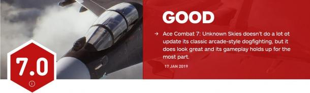 《皇牌空战7》首批评分出炉 IGN 7分 GameSpot 8分