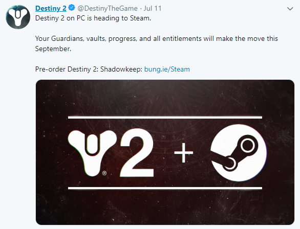《命运2》Steam存档转移9月启动 9月18日正式开玩