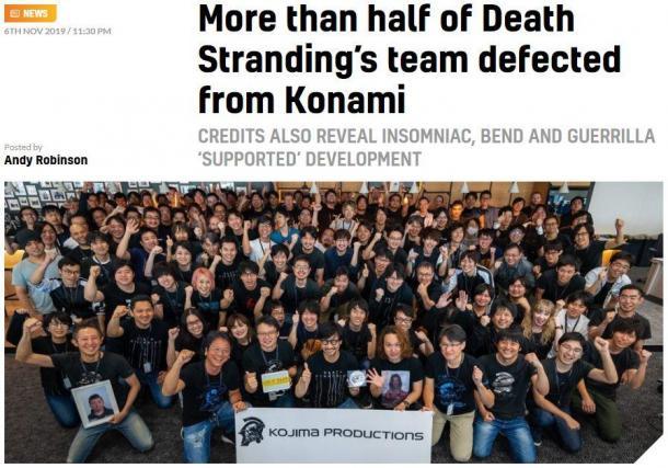《死亡搁浅》半数开发人员来自Konami 曾参与MGS