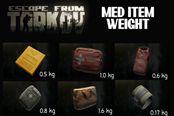 逃离塔科夫0.12.4全医疗物品重量对比图