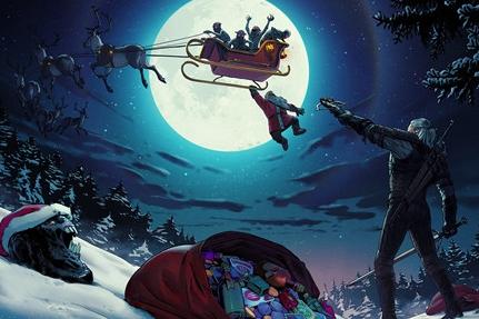 《巫师》官推发布圣诞贺图 杰洛特拯救圣诞老人