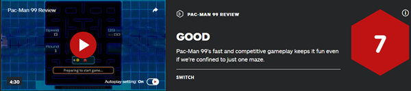 IGN7分吃豆人99玩法有趣但迷宫单一