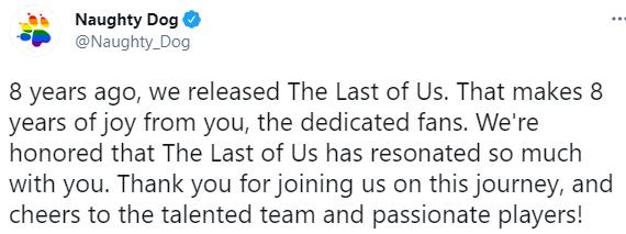 《最后生还者》发售八周年 顽皮狗发推感谢玩家的支持 游戏资讯 第1张